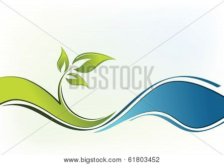 abstract composition. vector background with tree and sea