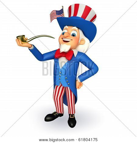 Uncle Sam with smoking pipe