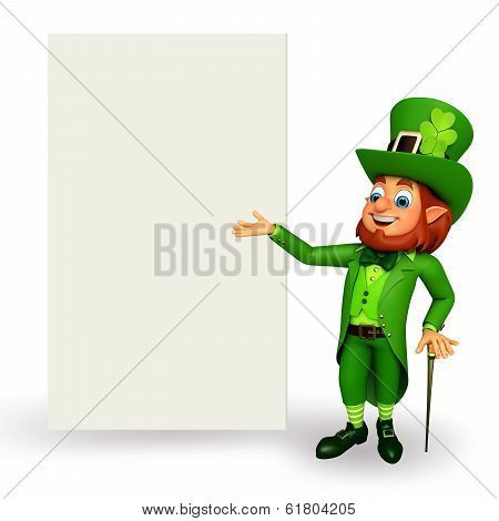 leprechaun for pstrick's day with sign