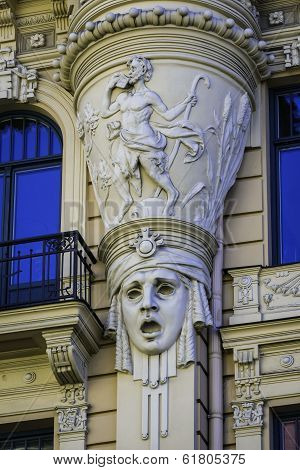 Detail Of Facade Of Art Nouveau (jugendstil) Building, Riga Latvia