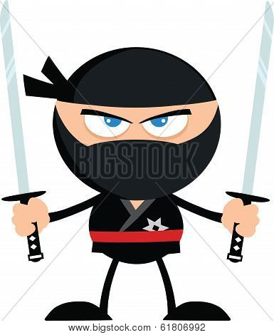 Angry Ninja Warrior With Two Katana Flat Design