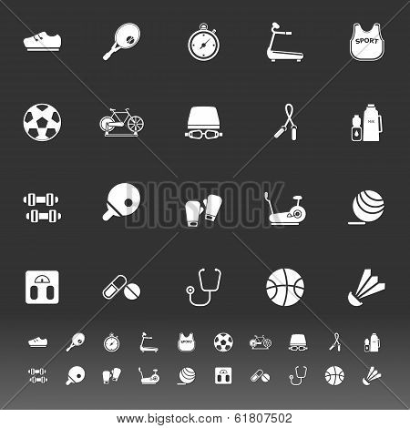Fitness Sport Icons On Gray Background