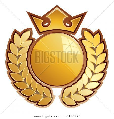 Gold shield - whit crown and laurels.