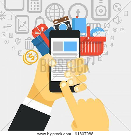 Mobile commerce concept illustration. Design elements