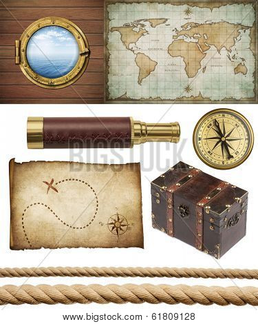 nautical objects set isolated: ship window or porthole, old treasure map, spyglass, brass compass, pirates chest and ropes