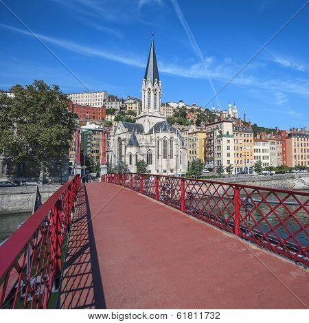 Lyon City With Red Footbridge
