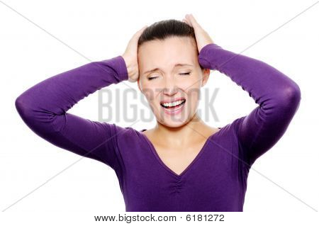 Upset Female With Strong Headache