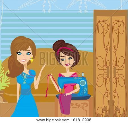 Girl With Sewing Machine And Elegant Client