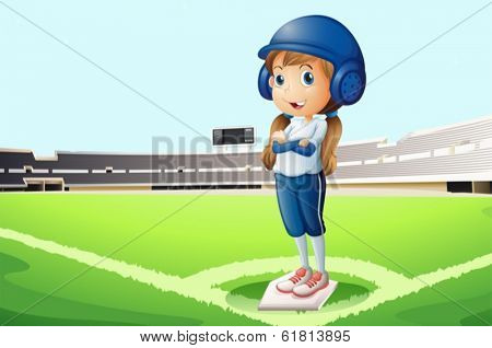 Illustration of a baseball player at the court