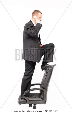 Man standing on chair