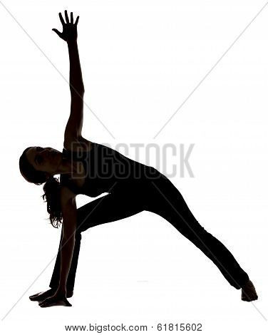 Woman In Extended Side Angle Pose In Yoga, Silhouette