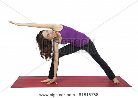 Woman Doing Extended Side Angle Pose In Yoga