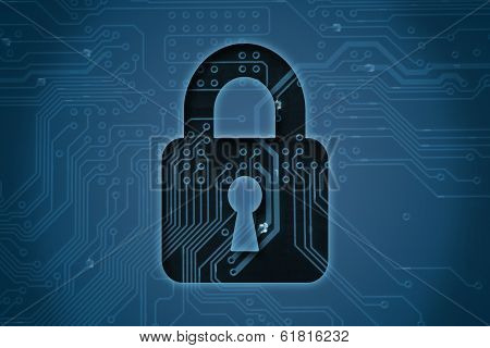 Closed lock on circuit background