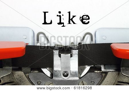 Part of typing machine with typed like word