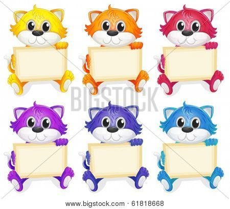 Illustration of a group of cats with empty signboards on a white background