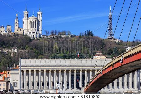 Famous View Of Saone River And Footbridge At Lyon