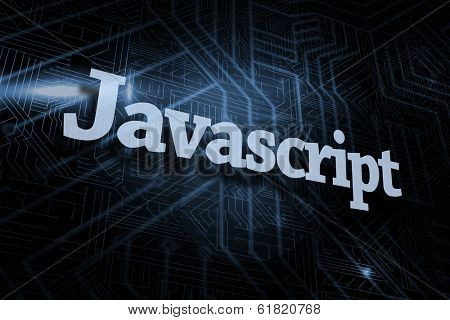 The word javascript against futuristic black and blue background