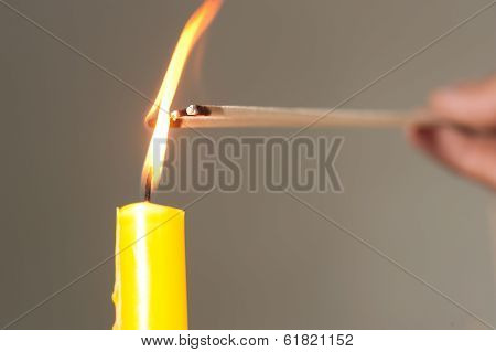 Light Candle Is The Ignite Of Incense.