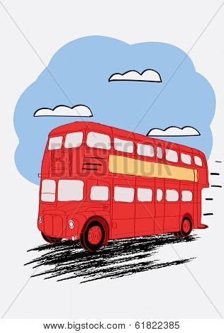London double Decker red bus. Vector illustration for magazine or newspaper