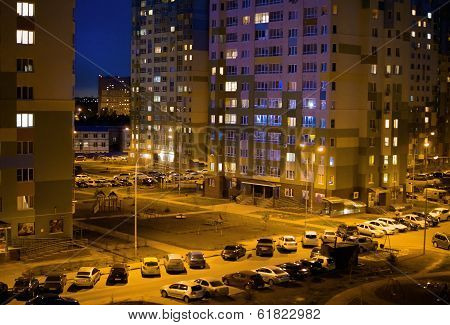 Night parking of vehicles in residential district of the city