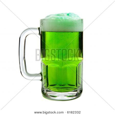 Mug Of Green Beer On White Background