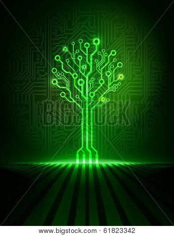 Vector green futuristic circuit tree.