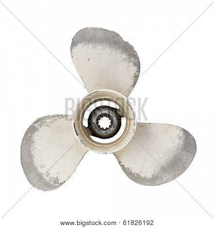 Old worn propeller of an outboard engine, isolated on white.