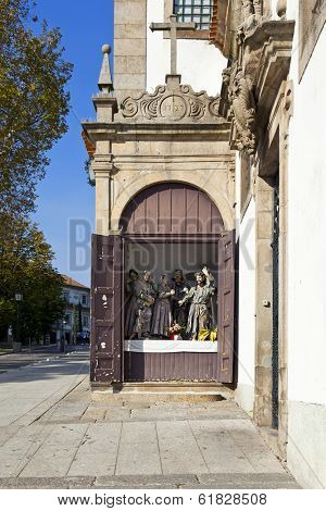 One of the Stations of the Cross especially open for the procession of the Easter Celebration in Guimaraes, Portugal. UNESCO World Heritage Site.