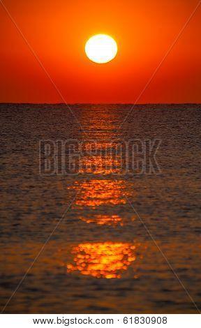 Burning Sun On Sea Horizon