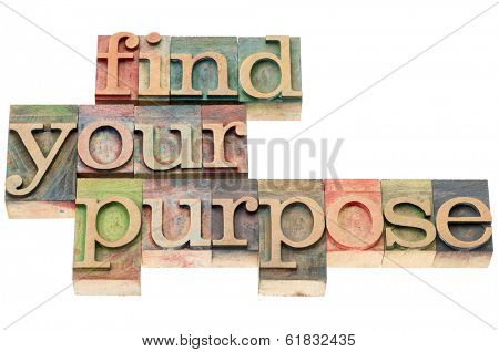 find your purpose - isolated text in letterpress wood type