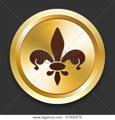 Fleurdelis Icons on Gold Button Collection