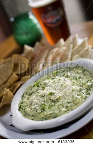 Artichoke Dip With Tortilla Chips