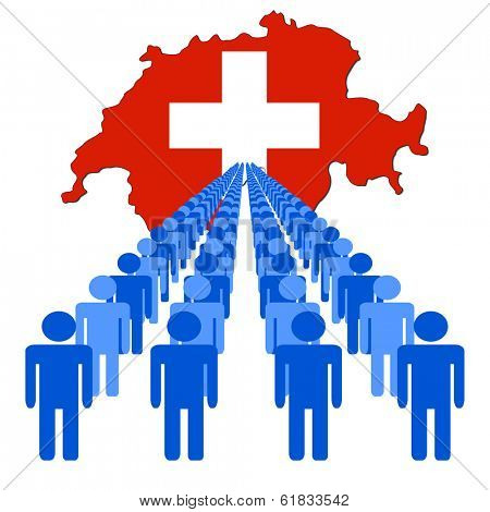 Lines of people with Switzerland map flag vector illustration