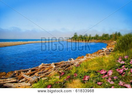 Stylized Rendering Of Vegetation On A Beach