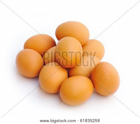 brown eggs over white