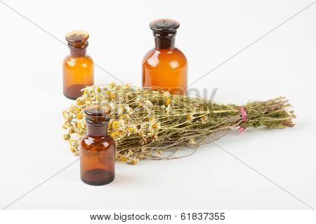 Dry chamomile and a bottles