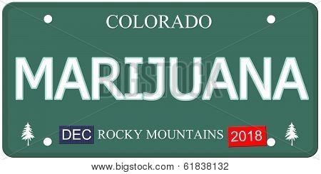 Marijuana Colorado License Plate