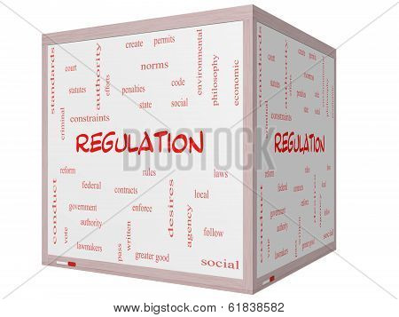 Regulation Word Cloud Concept On A 3D Cube Whiteboard