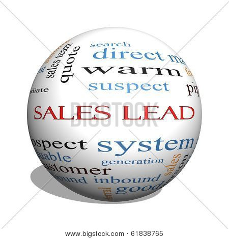 Sales Lead 3D Sphere Word Cloud Concept