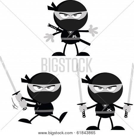 Angry Ninja Warrior  Cartoon Characters 1 Flat Design In Gray Color  Collection Set
