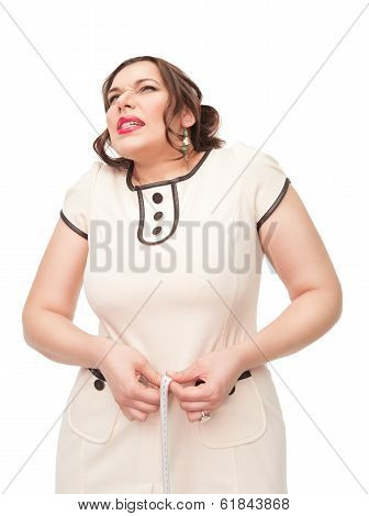 Beautiful Plus Size Woman Measuring Waist