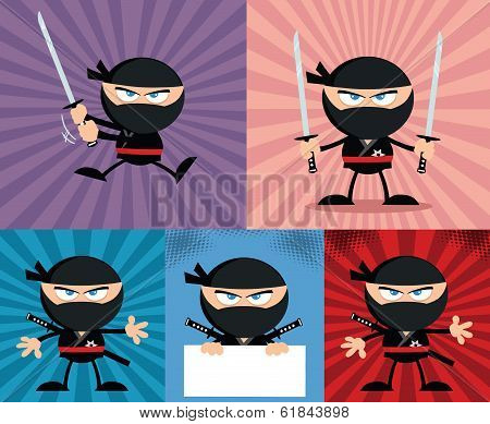 Angry Ninja Warrior Characters 4 Flat Design  Collection Set