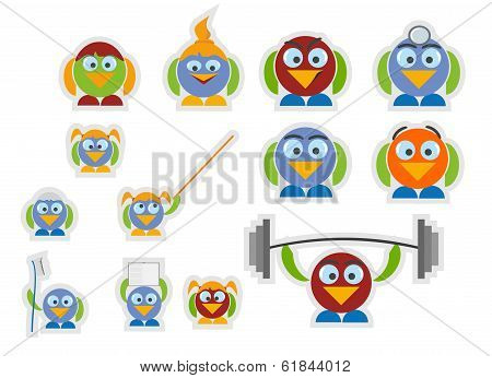 Set Birds With An Outline