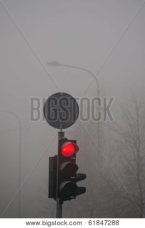 City Traffic Lights In Spring Morning Dark Fog