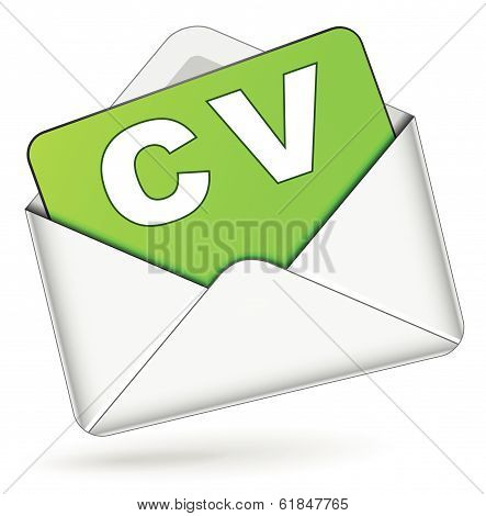 Vector Cv By Mail Icon