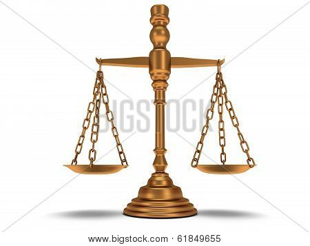 Scales justice on white