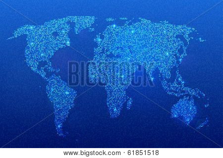 Glittering dotted world map on blue background.