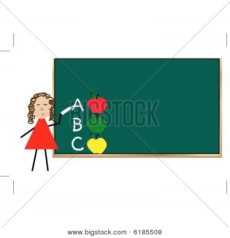 Chalk Board with teacher and Apples.