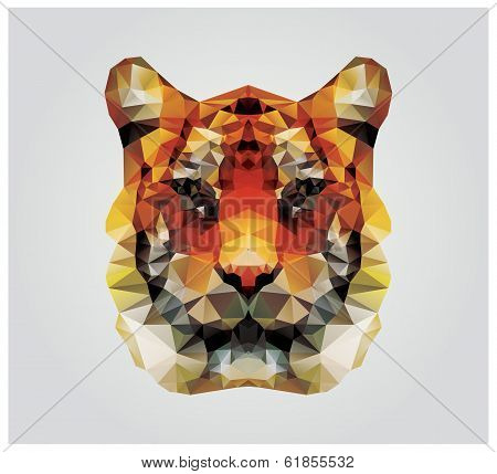 Geometric polygon tiger head, triangle pattern design, vector illustration