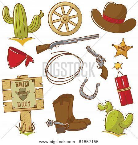Cowboy Icons Set